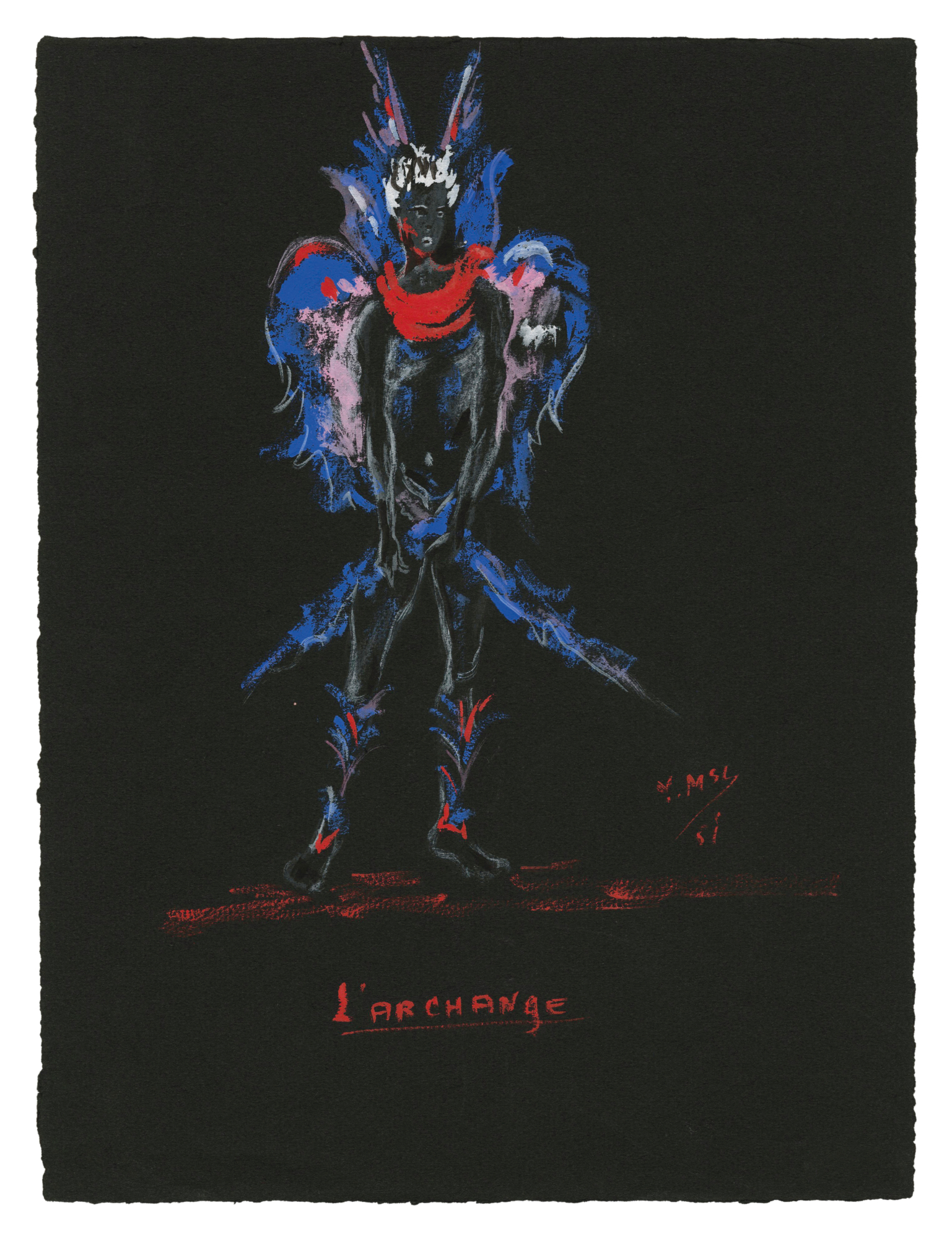 "059b4de77 Costume sketch for ""L'Archange"" in the play Sodome et Gomorrhe (Sodom and  Gomorrah) by Jean Giraudoux, 1951, Musée Yves Saint Laurent Paris ©  Fondation ..."