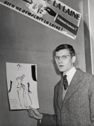 Yves Saint Laurent posing with the sketch for the design that earned him third prize in the dress category of the Secrétariat international de la laine competition, Paris, 1953., © AP/SIPA