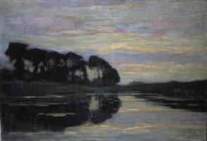 Ferme sur le Gein, dissimulée par de grands arbres, au coucher de soleil, huile sur toile, © Christie's Images