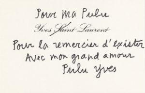 Carte d'Yves Saint Laurent adressée à Betty Catroux, © Fondation Pierre Bergé - Yves Saint Laurent