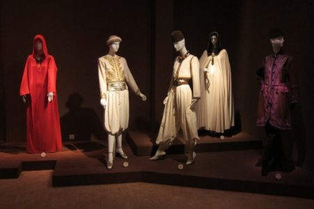 Yves Saint Laurent et le Maroc exhibition display at the Jardin Majorelle in Marrakech
