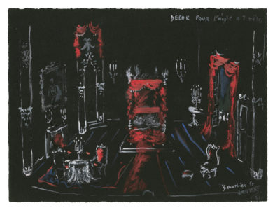 Sketch of the set for the Queen's chamber in the play L'Aigle à deux têtes (The Eagle with Two Heads) by Jean Cocteau, 1951, Musée Yves Saint Laurent Paris, © Fondation Pierre Bergé - Yves Saint Laurent / Tous droits réservés