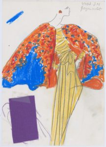 "Original sketch of a long evening ensemble called ""Bougainvilleas."" Spring-summer 1989 haute couture collection., © Musée Yves Saint Laurent Paris"