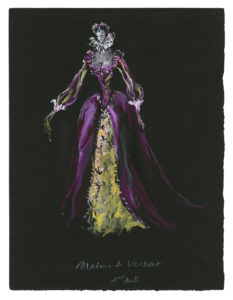 "Costume sketch for ""Madame de Vermont"" in the play La Reine Margot (Queen Margot), based on the play by Alexandre Dumas, 1953, Musée Yves Saint Laurent Paris, © Fondation Pierre Bergé - Yves Saint Laurent / Tous droits réservés"