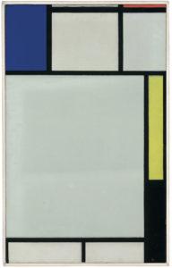 Piet Mondrian Composition avec bleu, rouge, jaune et noir