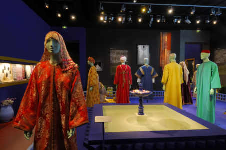 Une passion marocaine, Caftans, broderies, bijoux exhibition display at the Fondation Pierre Bergé - Yves Saint Laurent
