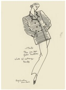 Croquis d'illustration du premier caban réalisé par Yves Saint Laurent en 1983 pour le catalogue de l'exposition du Metropolitan Museum of Art de New York, © Yves Saint Laurent