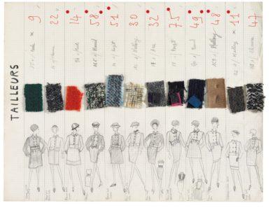 Planche de collection « Tailleurs ». Collection haute couture automne-hiver 1965, © Yves Saint Laurent