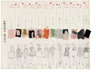 Planche de collection « Soir court ». Collection haute couture automne-hiver 1965, © Yves Saint Laurent