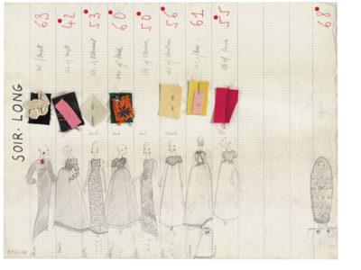 Planche de collection « Soir long ». Collection haute couture automne-hiver 1965, © Yves Saint Laurent