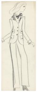 Croquis original du premier smoking. Collection haute couture automne-hiver 1966, © Yves Saint Laurent