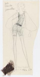 Croquis original d'un ensemble de soir. Collection haute couture printemps-été 1968, © Yves Saint Laurent