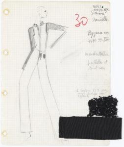 Fiche du studio dite « fiche de Bible » d'un ensemble de cocktail. Collection haute couture automne-hiver 1968, © Yves Saint Laurent