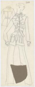 Croquis original d'un tailleur pantalon. Collection haute couture printemps-été 1969, © Yves Saint Laurent