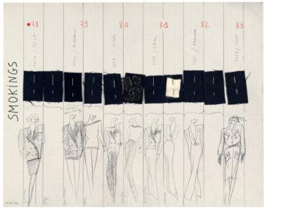 Planche de collection « Smokings ». Collection haute couture automne-hiver 1981, © Yves Saint Laurent