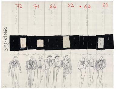 Planche de collection « Smokings ». Collection haute couture printemps-été 1982, © Yves Saint Laurent