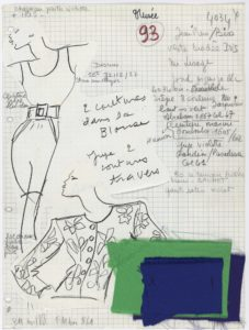 "Studio specification sheet, or ""Bible page,"" for a short evening ensemble, homage to Vincent Van Gogh, spring-summer 1988 haute couture collection., © Yves Saint Laurent"