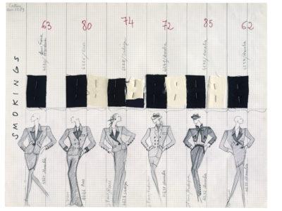 Planche de collection « Smokings ». Collection haute couture automne-hiver 1988, © Yves Saint Laurent