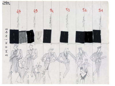 Planche de collection « Smokings ». Collection haute couture automne-hiver 1989, © Yves Saint Laurent