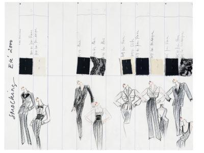 Planche de collection « Smocking ». Collection haute couture printemps-été 2000, © Yves Saint Laurent