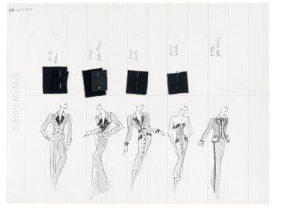 Planche de collection « Smocking ». Collection haute couture automne-hiver 2001, © Yves Saint Laurent