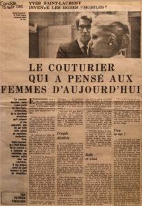 « Le couturier qui a pensé aux femmes d'aujourd'hui » par Patrick Thévenon, Article paru dans Candide, 15 août 1965
