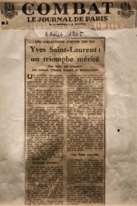 « Yves Saint Laurent : un triomphe mérité », Article paru dans Combat, 7 août 1965