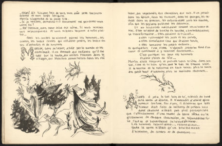Copied and illustrated book, Merlin, based on the novel Merlin ou Les Contes Perdus by Andrée Pragane, illustrated by Jean Reschofsky, published in L'Illustration, December 2,1950, Musée Yves Saint Laurent Paris, © Fondation Pierre Bergé - Yves Saint Laurent / Tous droits réservés