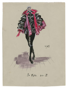 "Costume sketch for ""La Molle"" in the play La Reine Margot (Queen Margot), based on the play by Alexandre Dumas, 1953, Musée Yves Saint Laurent Paris, © Fondation Pierre Bergé - Yves Saint Laurent / Tous droits réservés"
