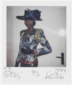 Evening ensemble, homage to Vincent Van Gogh, worn by Jodye. Spring-summer 1988 haute couture collection. 5 avenue Marceau, Paris, January 1988. Polaroid taken by an employee of the house., © Yves Saint Laurent / photo : Droits réservés