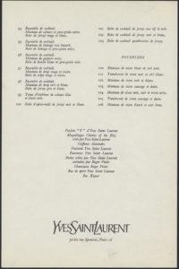 Programme de collection automne-hiver 1965, © Yves Saint Laurent