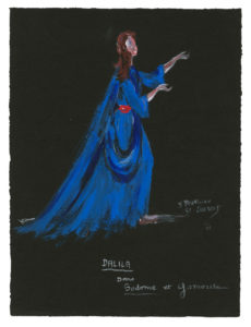 "Costume sketch for ""Dalila"" in the play Sodome et Gomorrhe (Sodom and Gomorrah) by Jean Giraudoux, 1951, Musée Yves Saint Laurent Paris, © Fondation Pierre Bergé - Yves Saint Laurent / Tous droits réservés"
