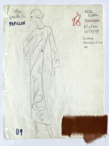 "Studio specification sheet, or ""Bible page,"" for an evening gown from the autumn-winter 1970 haute couture collection., © Yves Saint Laurent"
