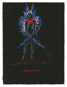 "Costume sketch for ""L'Archange"" in the play Sodome et Gomorrhe (Sodom and Gomorrah) by Jean Giraudoux, 1951, Musée Yves Saint Laurent Paris, © Fondation Pierre Bergé - Yves Saint Laurent / Tous droits réservés"