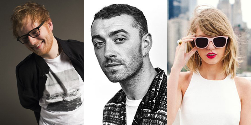 Ed Sheeran, Sam Smith and Taylor Swift artist strip