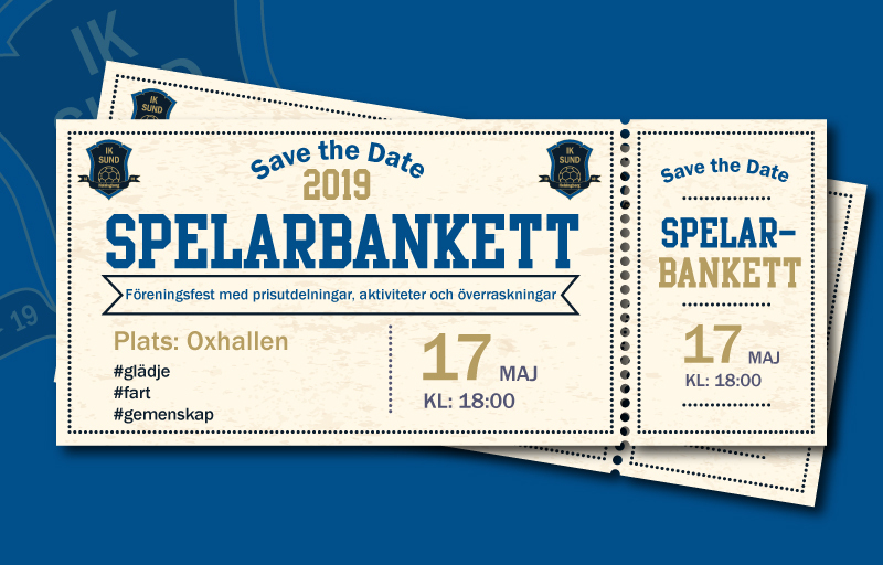 Save the date spelarbankett 2019
