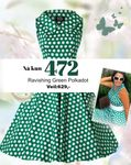 H&R Ravishing Green Polka Dot Swing Dress