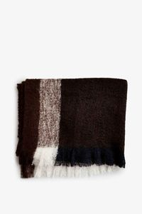 Bilde av New Works Check Throw Dark Brown Mohairpledd