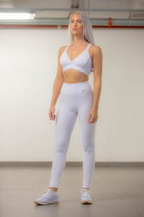 Textured 3D White Set - Legging & Sports-bra