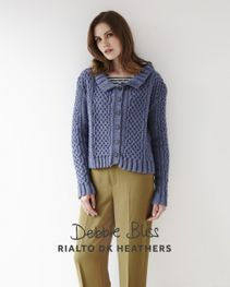 DB106 Interlaced Cables Cardigan - Rialto dk Heathers