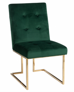 Bilde av CHAIR VELVET DARK GREEN/METAL