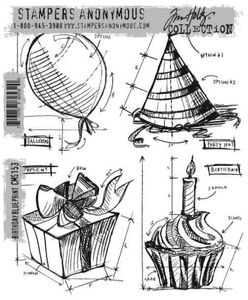 TIM HOLTZ - STAMPERS ANONYMOUS CMS153 - BIRTHDAY BLUEPRINT