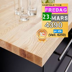 Benkeplate Ask Massiv 30x630x4200 mm