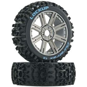 Duratrax 3617 Lockup Buggy Tire C2 Mounted Spoke Blck/Chrome