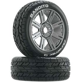 Duratrax 3657 Bandito Buggy Tire C2 Mounted Spoke Black Chro