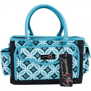 Everything Mary Papercraft Organizer Teal Print W/Black Trim