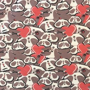 Bilde av Jersey  Print - Panda Love dark old rose