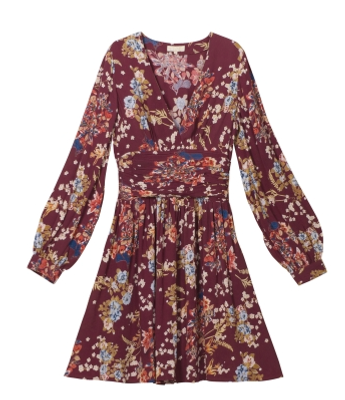byTimo KJOLE BELL SLEEVE DRESS BLOSSOM BURGUNDY