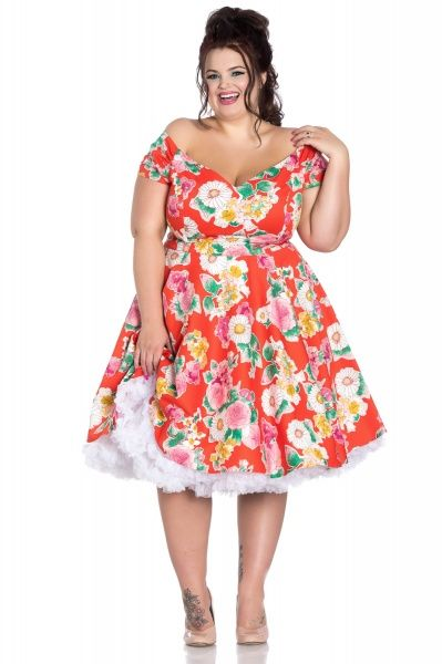 Hell Bunny Swing Kjole Marguerita Orange Floral