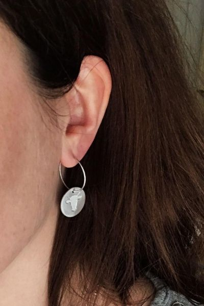 SILVER FEARLESS COIN EARRINGS
